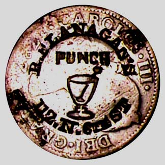Flanagan Stamped Coin (courtesy AAA Historical Americana - World Exonumia)