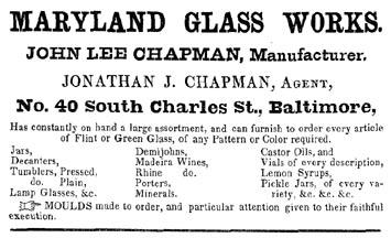1853 Ad Maryland Glass Works